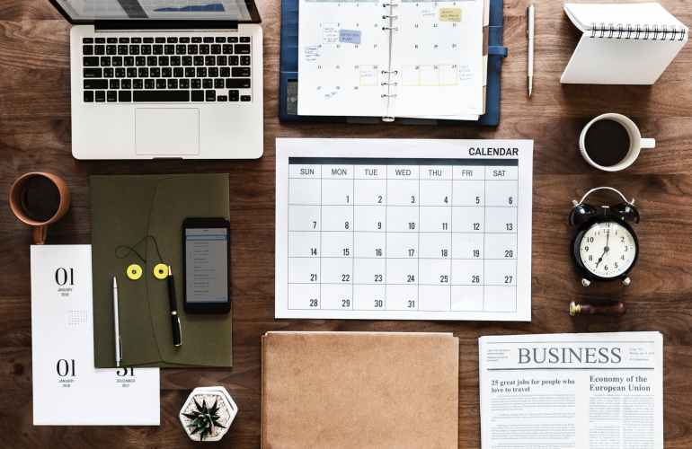 Organized minimalist desk